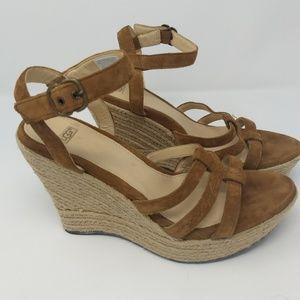 Ugg Suede Woven Platform Heel Sandals sz 8